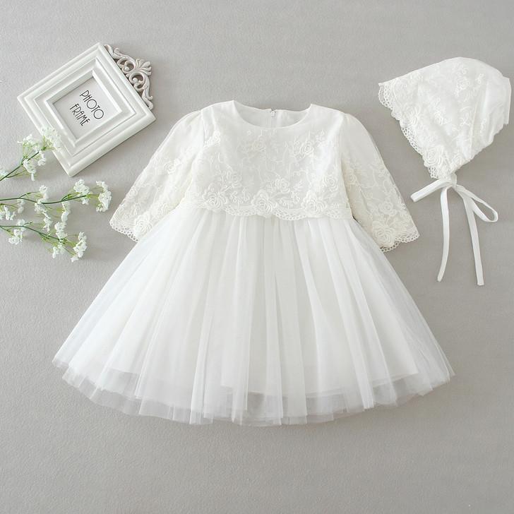 Flower Lace Long Sleeve Dresses Tulle Skirt & Bonnet