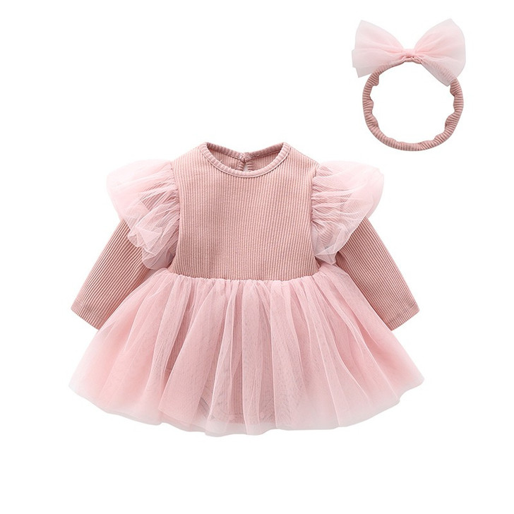 Pink Chiffon Tutu Skirt Baby Girl Long Sleeve Dress