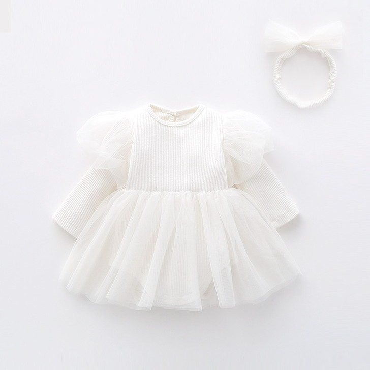 White Chiffon Tutu Skirt Baby Girl Long Sleeve Dress