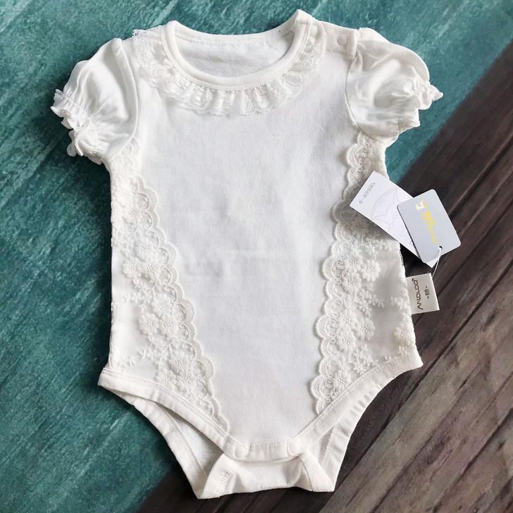 Flower Embroidery Baby Girl Short Sleeve Romper