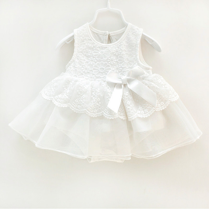 Sleeveless Baby Girl White Dress lace Top