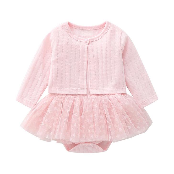 Pink Cardigan & Heart Chiffon Tutu Skirt Sleeveless Dress