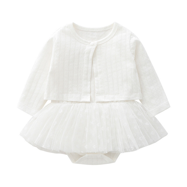 White Cardigan & Heart Chiffon Tutu Skirt Sleeveless Dress