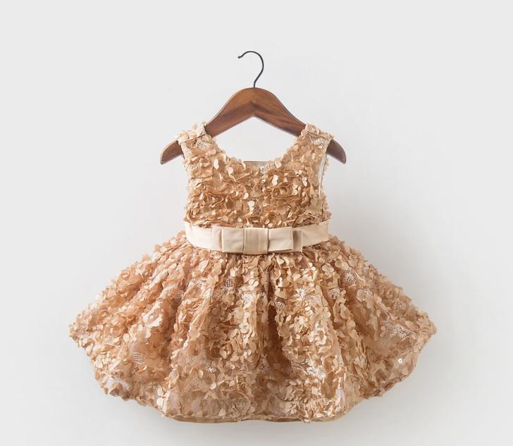 3D Flower Baby Girl Golden Bowtie Dress