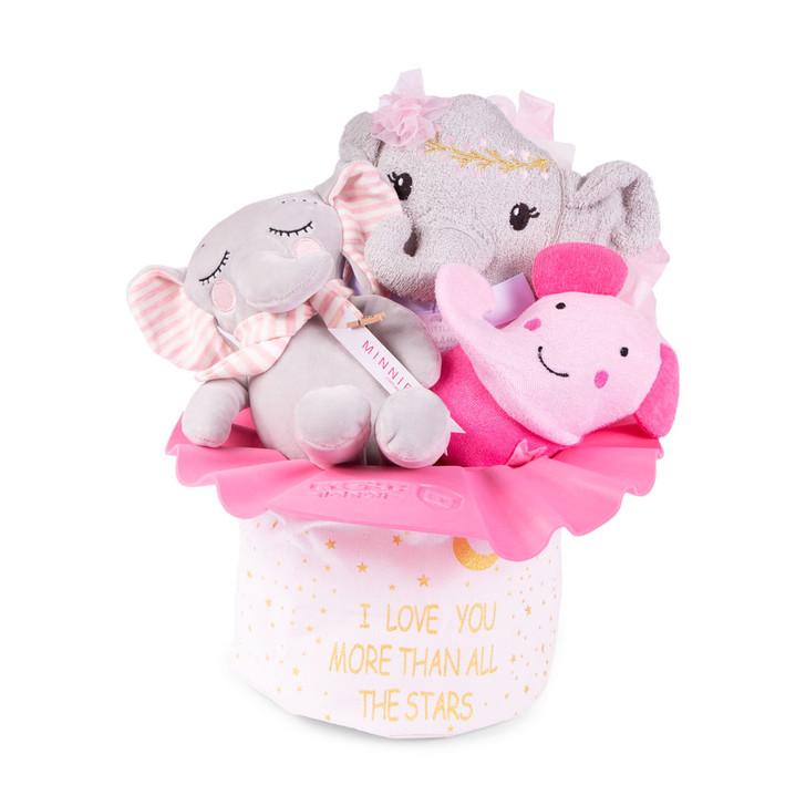 New Bath Time Hamer Gift Set Pink Elephant Basket