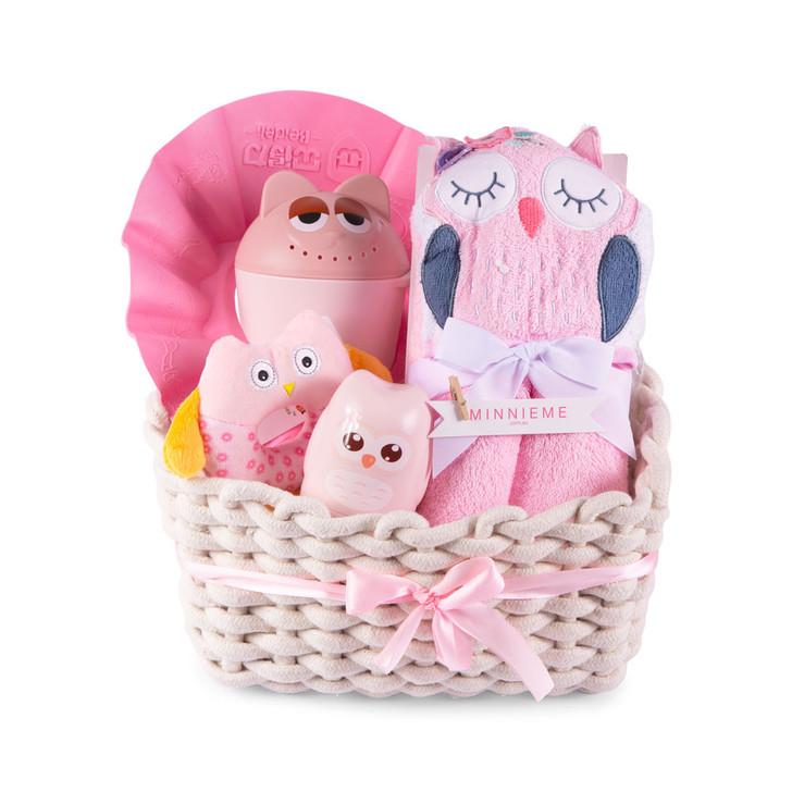 New Baby Bath Time Hamer Gift Set Pink Owl Basket Set