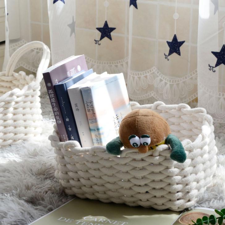 White handmade burlap cotton thread storage box