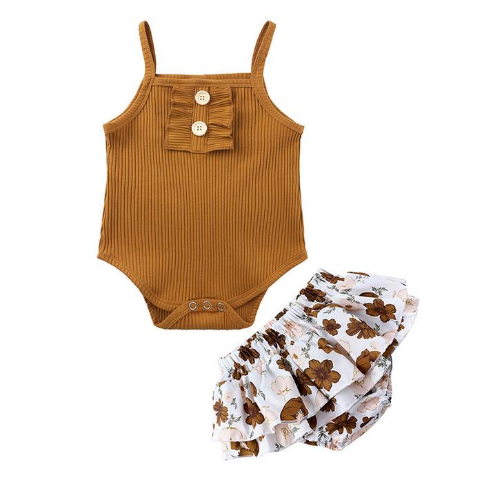 Baby Girls Summer Romper Skirt Set- Coffee + Flower