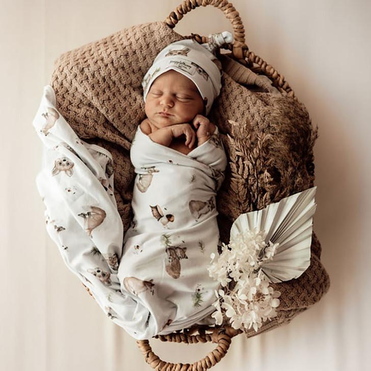 Fox | Baby Jersey Wrap & Beanie Set