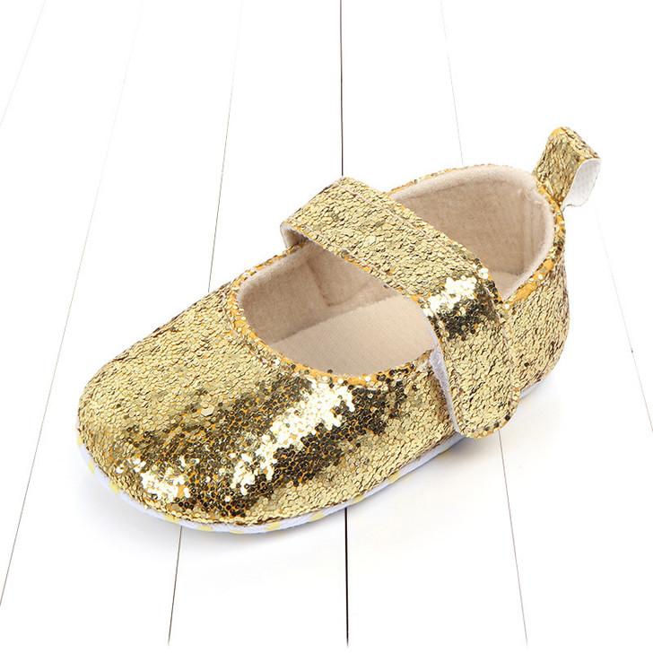 Baby Girls Golden Shiny Princess Soft Sole Anti-slip Shoes