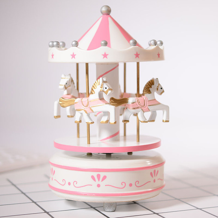 Wooden Carousel Pink Merry Go Round Star Music Box