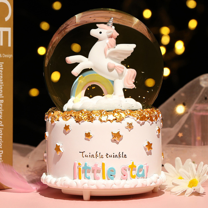 Music Box Crystal Ball Rainbow Unicorn