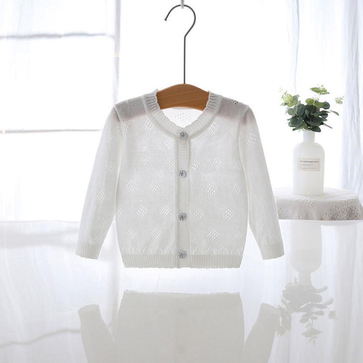 Baby Girls Thin Knit White Cardigan Jacket