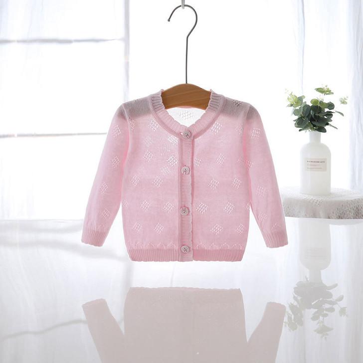 Baby Girls Thin Knit Pink Cardigan Jacket