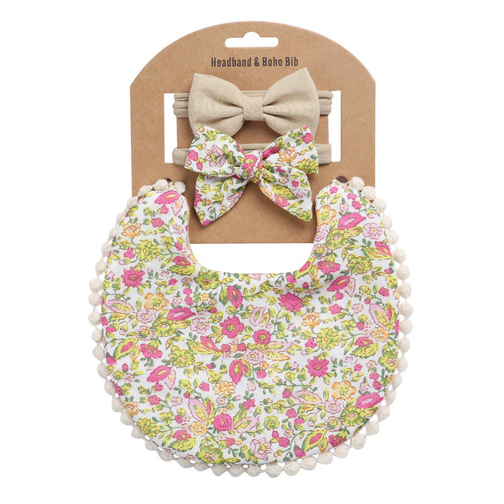 Baby Girls Double-Sided Cotton Bib with Bow Headband Set - DP021-10