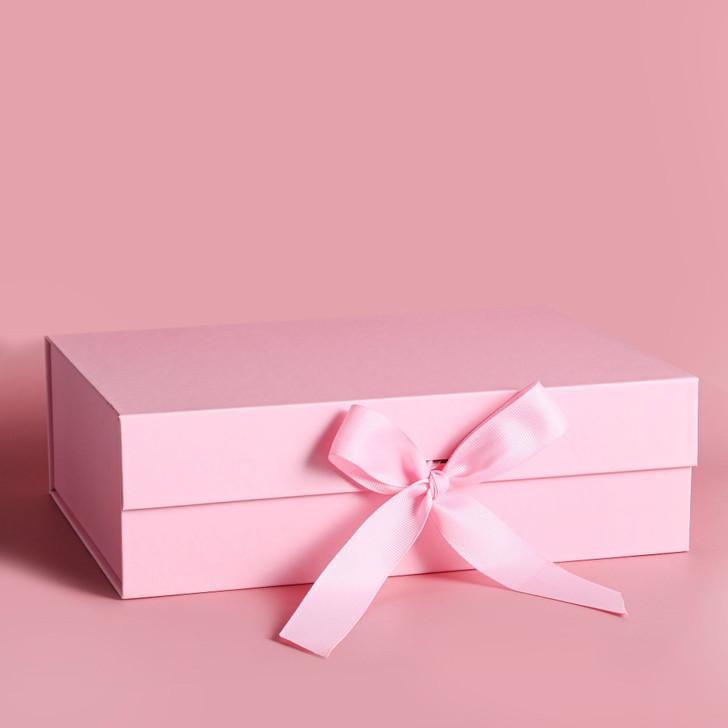Folding Pink Gift Box with Satin Ribbon