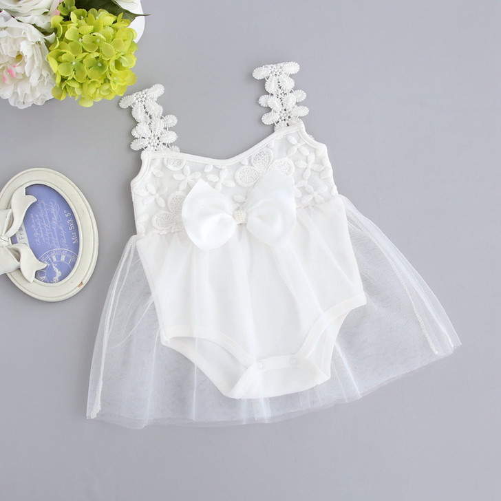 Baby Girls Embroidery White Net Dress Romper with Front Bow