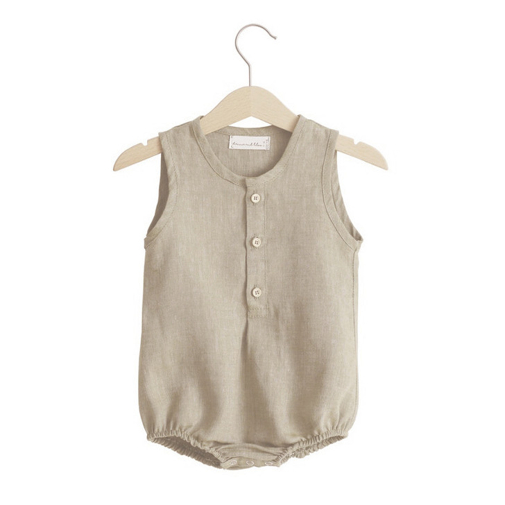 Newborn Linen Sleeveless Romper