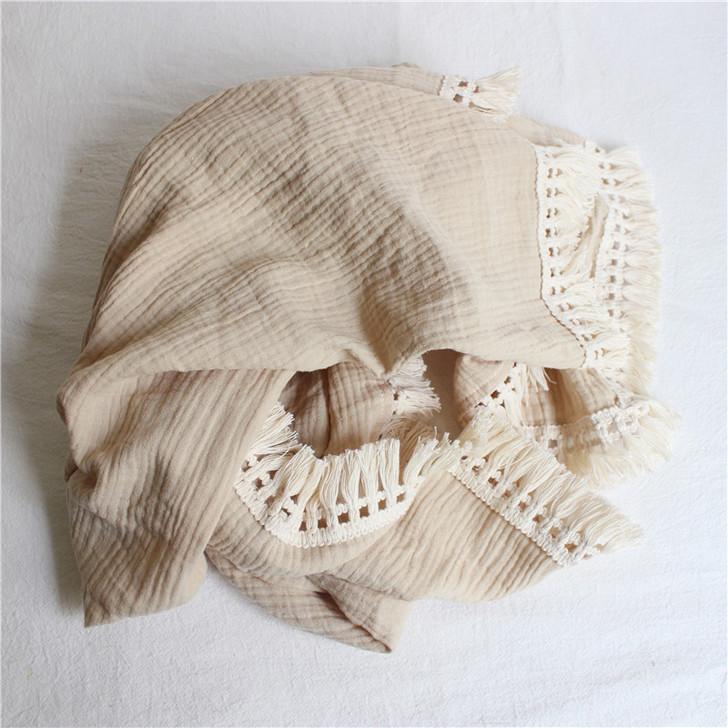 Newborn Baby Soft Muslin Cotton Swaddle with Fringe