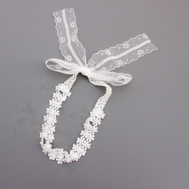 Baby Girls Solid Color Double Flower Pearl Lace Headband