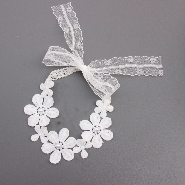 Baby Girls Solid Color Single Flower Pearl Lace Headband
