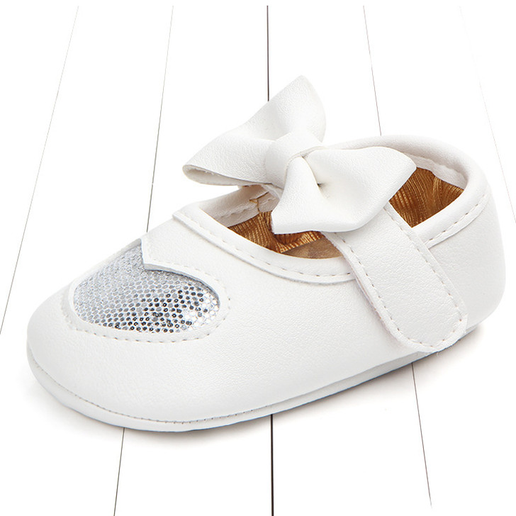 Baby Mary Jane Shoes Silver Glitter heart
