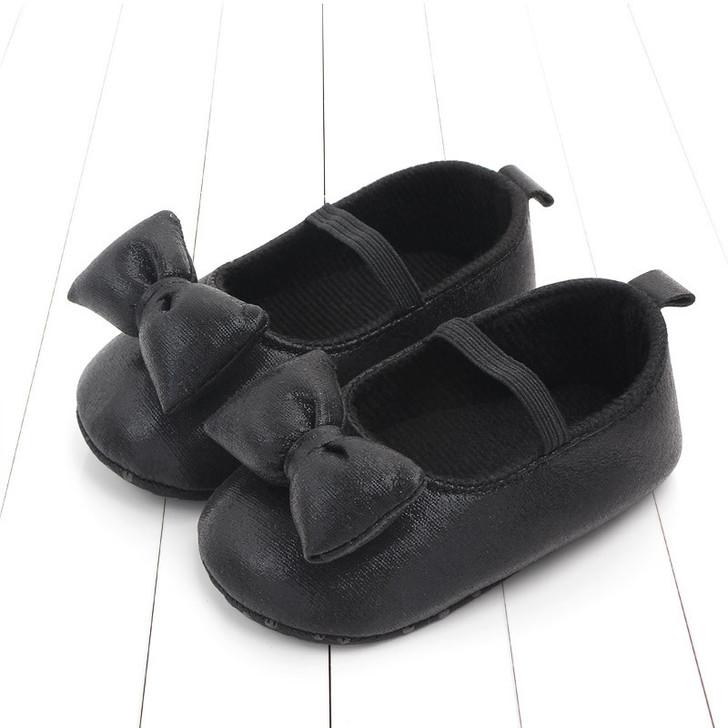 Baby Mary Jane Princess Bowtie Glitter Black shoes