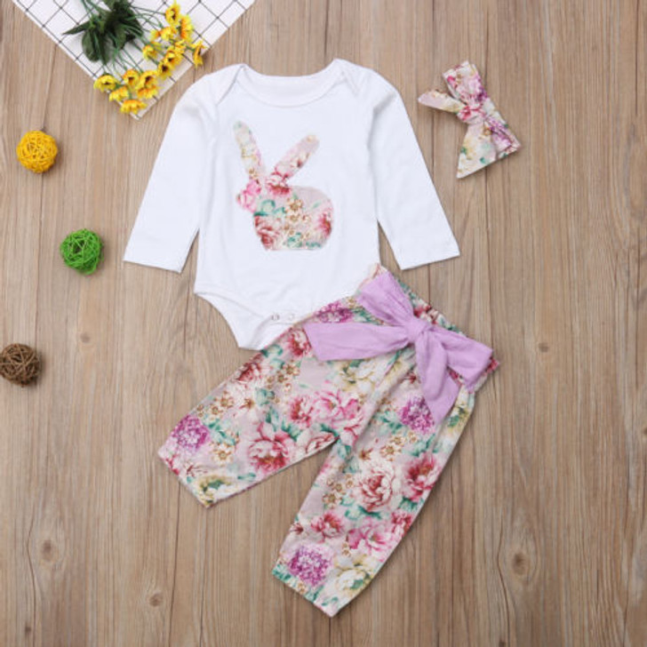 Floral Bodysuit Pants 2pcs Set Rabbit
