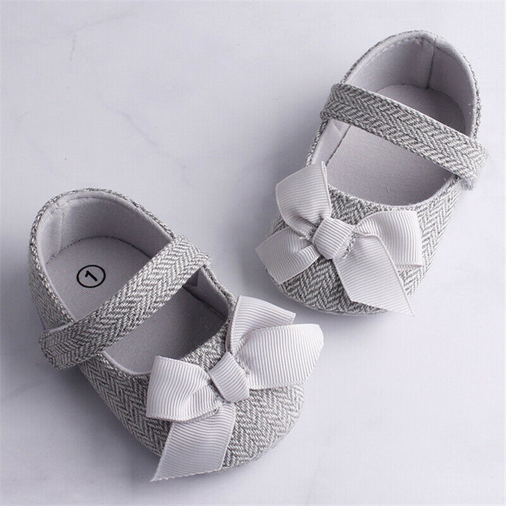 Faux Leather Newborn Baby Girls Bowknot Soft Sole Anti-slip Prewalker Toddler Shoes Butterfly Iron Baby Shoes