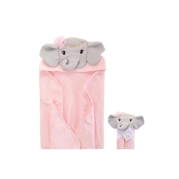 Little Treasure Hooded Towel Pink Tribal Elephant