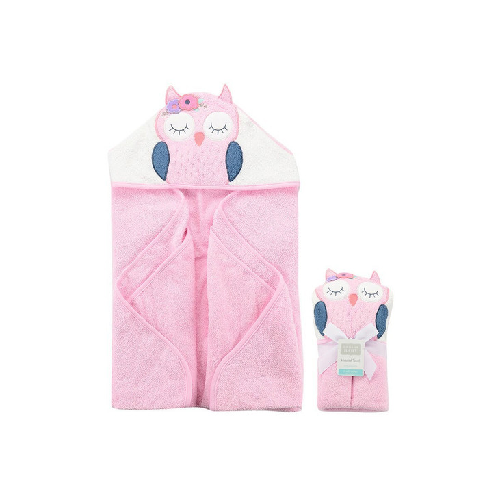 Hudson Baby Hooded Towel Pink Owl