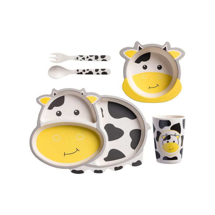 Tiny Dining Children's Bamboo Fibre Dinner Set 5pcs White Yellow Cow
