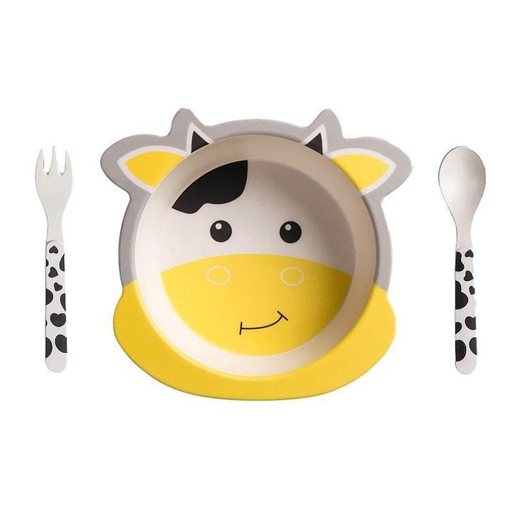 Tiny Dining Children's Bamboo Fibre Dinner Set 3pcs White Yellow Cow