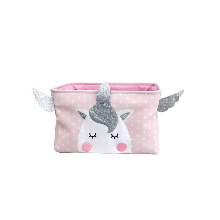 Unicorn Pink Round Folding Storage Basket