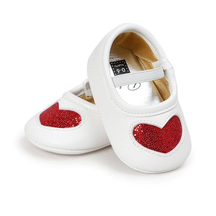 Baby Mary Jane Shoes Red Glitter heart