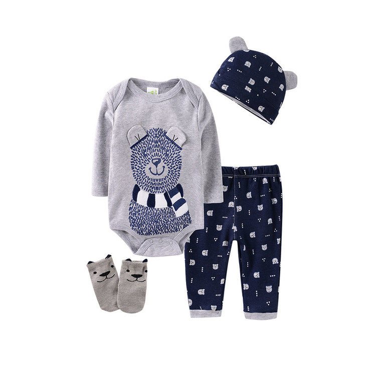 cotton-robe-four-piece-suit-0-1-year-old-baby-grey