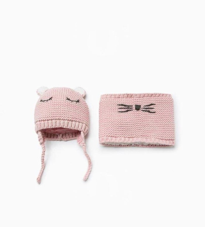 baby-beanie-knitted-wool-pink-hat-with-scarf-sleeping-face
