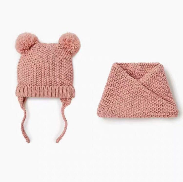 baby-pink-knitted-capillary-hat-with-scarf