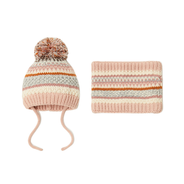 baby-pink-stripe-knitted-capillary-hat-with-scarf