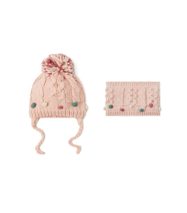 small-ball-decoration-baby-knitted-capillary-knitted-scarf-set-pink