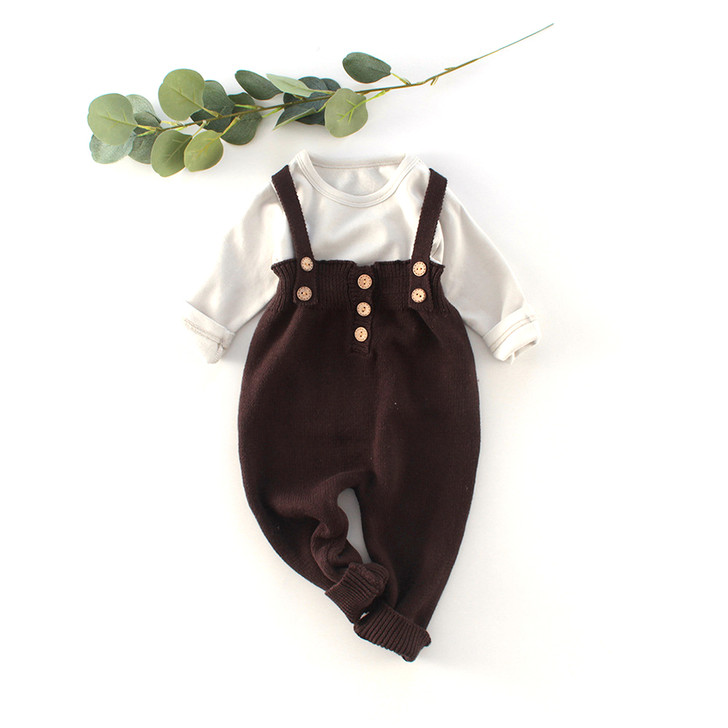 3 Pcs Knitted Set Suspender t-shirt and Cardigan Baby Boy
