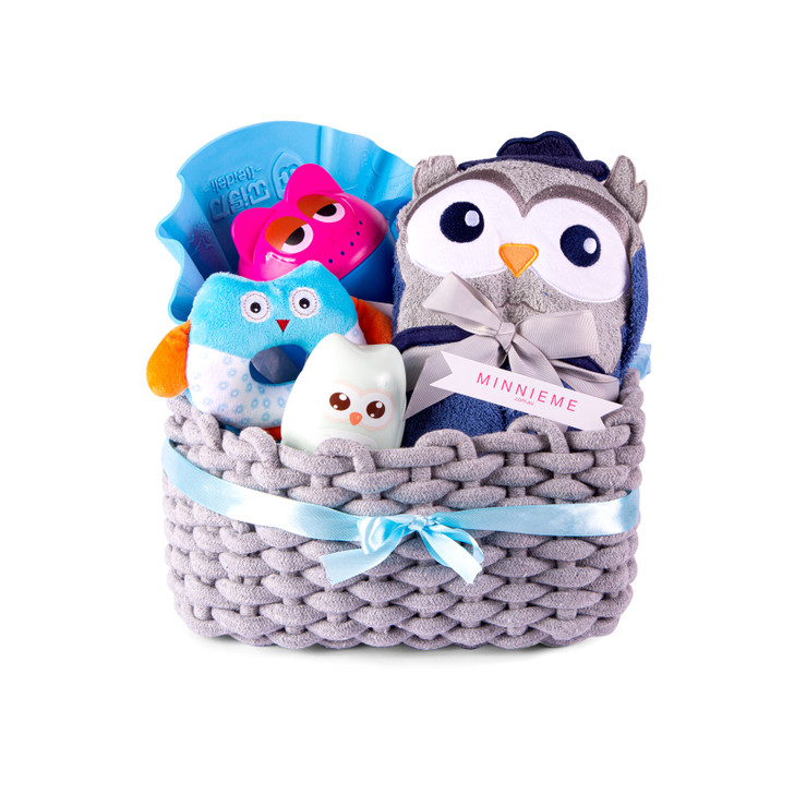 Baby Bath Time Hamper Gift Set Blue Owl Basket Set