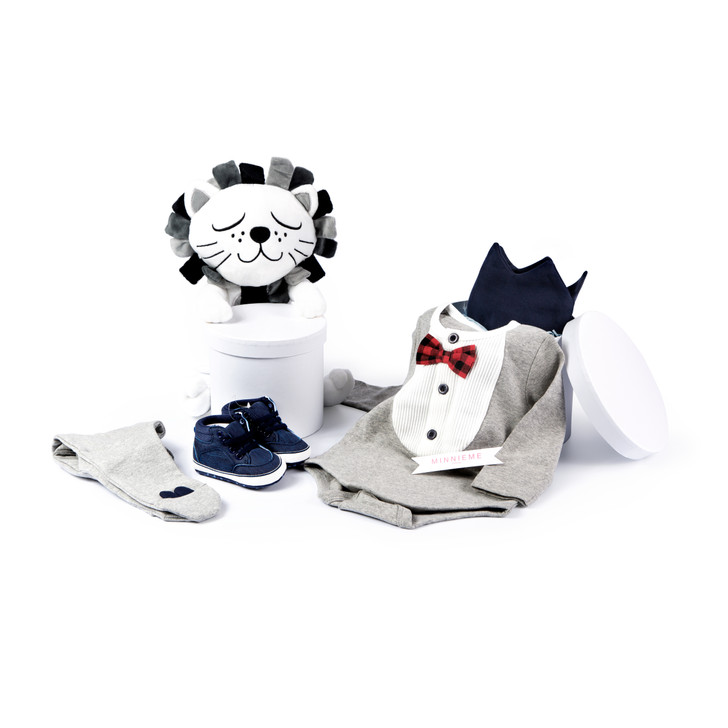 Baby Boy Hamper Gift Box Day Out Outfit Grey Set