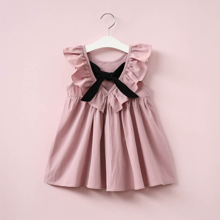Girl Dress Ruffle Collar Backless With Bow