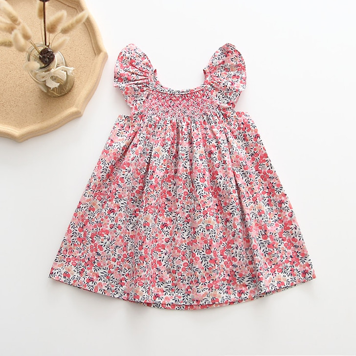 Girl Dress Floral Cotton Summer Linen Clothings
