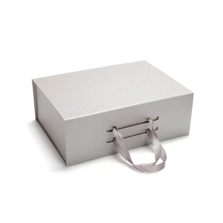 Large Grey Magnetic Lid  Gift Box Satin Ribbon Tie