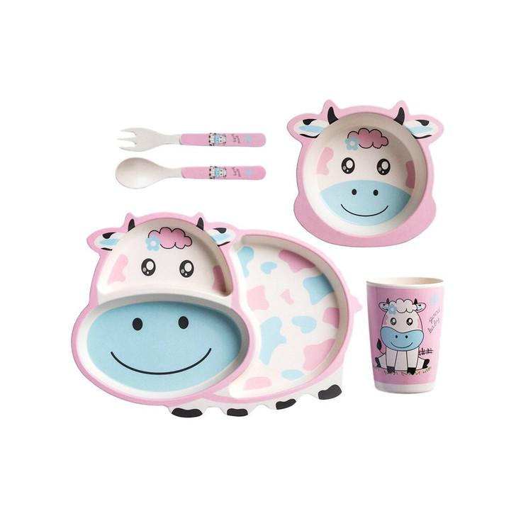 Tiny Dining Children's Bamboo Fibre Dinner Set 5pcs White Pink Cow