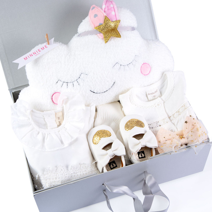 Baby Girl Hamper Gift Box Set Day Out Outfit White Color
