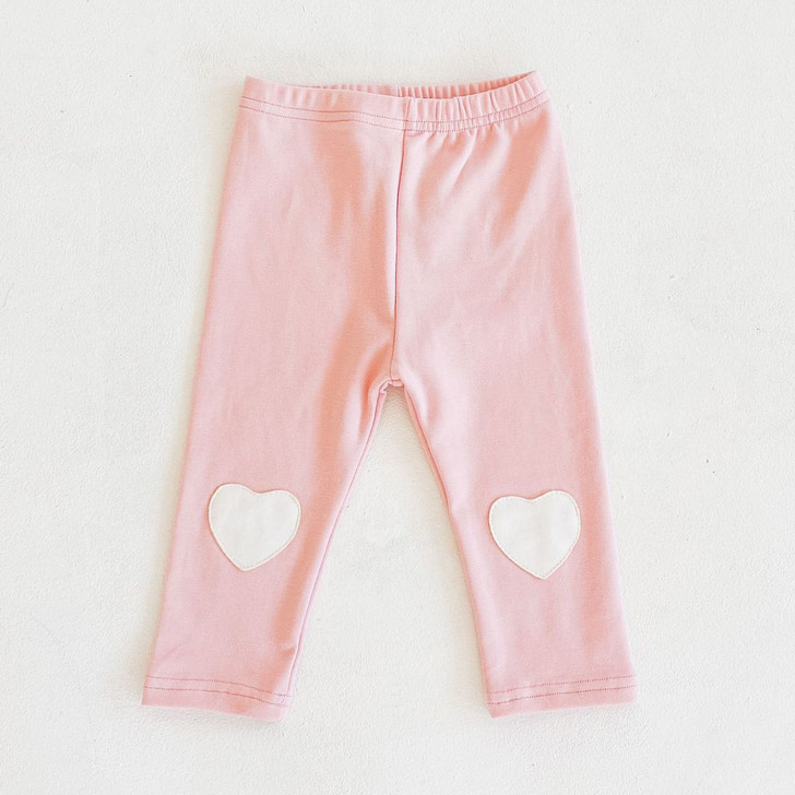Baby Girl Pink Heart Patches Leggings