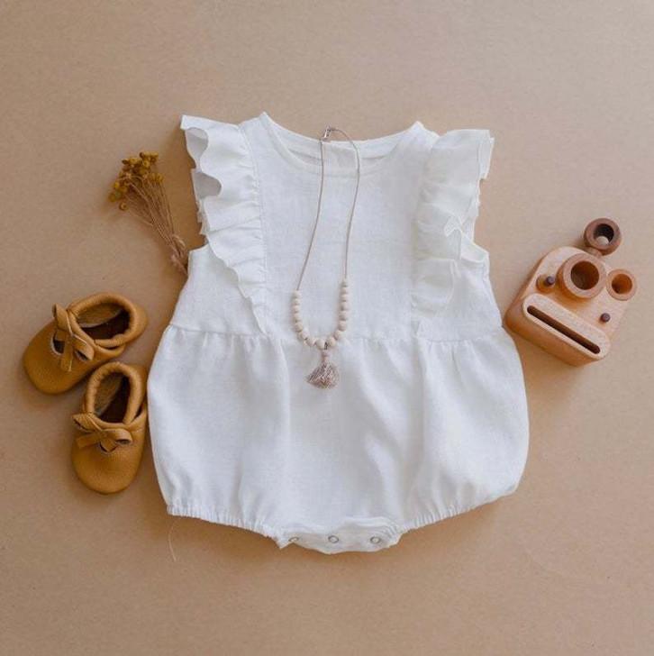 Baby Girls Sleeveless Romper White Ruffled Bodysuit